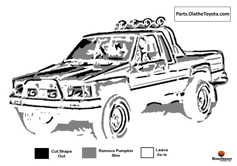 Classic 80s Toyota truck pumpkin carving pattern for download