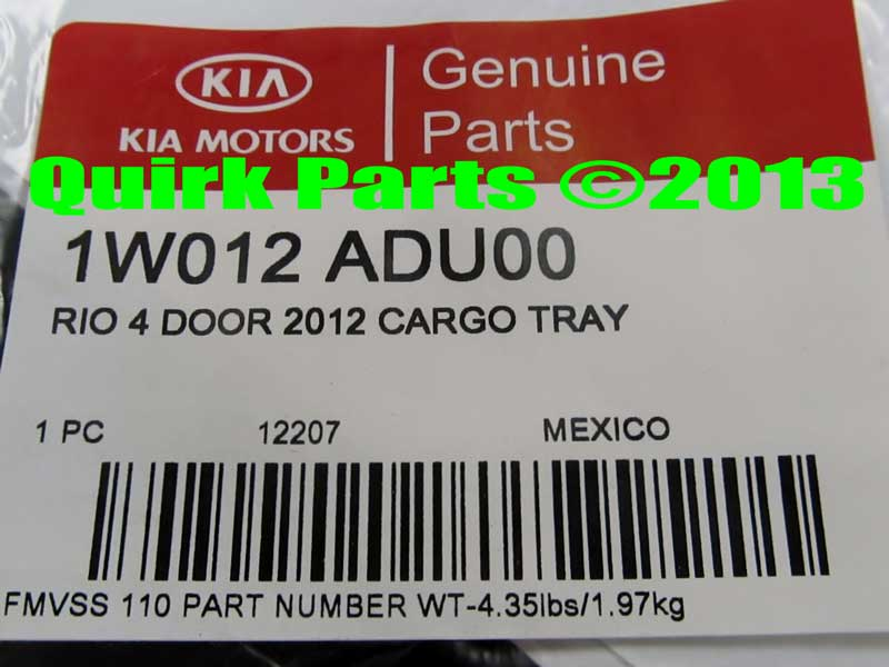 2012-2013 Kia Rio 4-Door Rubber Cargo Area Tray w/ Logo Genuine OEM BRAND NEW