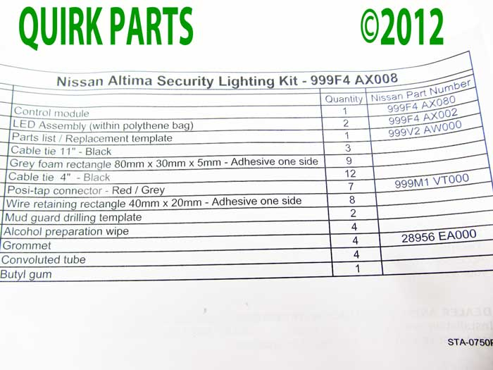 2010-2012 Nissan Altima Security Underbody External Ground LED Light Kit OEM NEW