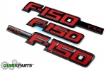 2009-2014 Ford F-150 FX4 Sport RED Right / Left Fender & Tailgate Emblems Set of 3 OEM