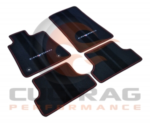 2016 2017 Chevrolet Camaro Front & Rear Floor Mats Red Binding With Camaro Logo