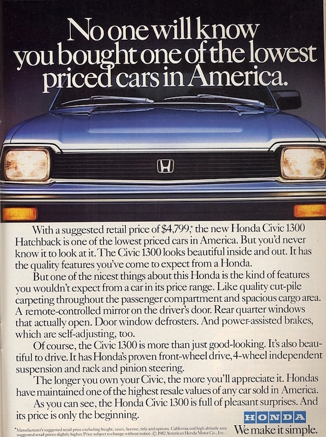 Honda Ad Lowest Price
