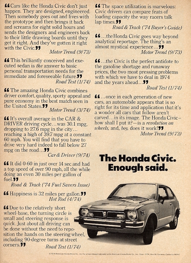 Honda Ad Quotes