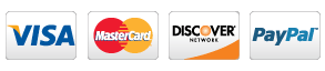 SSL secured payment options from Visa, Mastercard, Discover, PayPal, and American Express