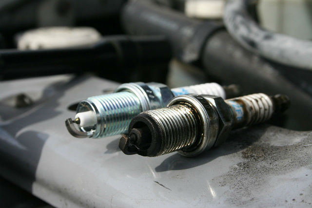 old and new spark plug