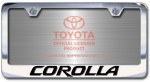 Chrome Engraved Corolla License Plate Frame-Block Lettering