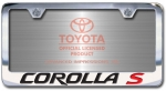 Chrome Engraved Corolla S License Plate Frame-Block Lettering