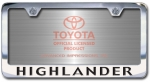 Chrome Engraved Highlander License Plate Frame-Block Lettering