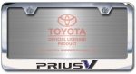 Chrome Engraved Prius V License Plate Frame-Block Lettering