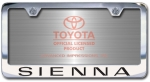 Chrome Engraved Sienna License Plate Frame-Block Lettering