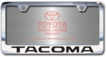Chrome Engraved Tacoma License Plate Frame-Block Lettering