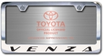Chrome Engraved Venza License Plate Frame-Block Lettering