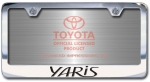 Chrome Engraved Yaris License Plate Frame-Block Lettering