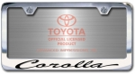 Chrome Engraved Corolla License Plate Frame-Script Lettering