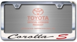 Chrome Engraved Corolla S License Plate Frame-Script Lettering