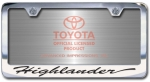 Chrome Engraved Highlander License Plate Frame-Script Lettering
