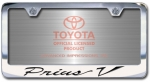 Chrome Engraved Prius V License Plate Frame-Script Lettering