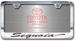 Chrome Engraved Sequoia License Plate Frame-Script Lettering