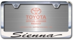 Chrome Engraved Sienna License Plate Frame-Script Lettering