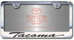 Chrome Engraved Tacoma License Plate Frame-Script Lettering
