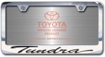 Chrome Engraved Tundra License Plate Frame-Script Lettering