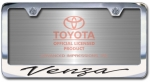 Chrome Engraved Venza License Plate Frame-Script Lettering
