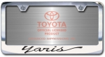 Chrome Engraved Yaris License Plate Frame-Script Lettering