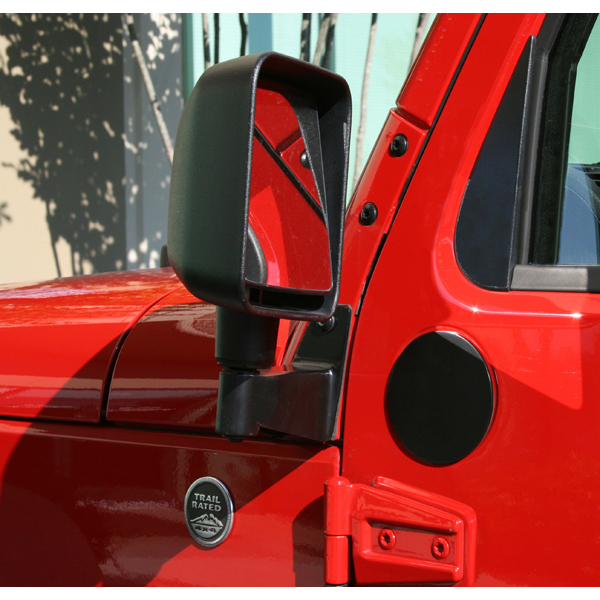 Mirror Relocation Brackets, Black; 07-16 Jeep Wrangler JK - Rugged Ridge