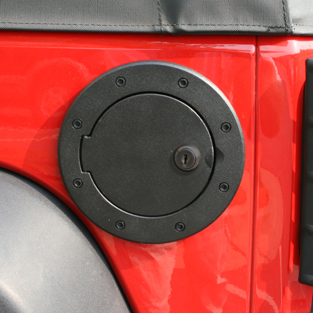 Locking Gas Cap Door, Black Aluminum; 07-16 Jeep Wrangler JK - Rugged Ridge