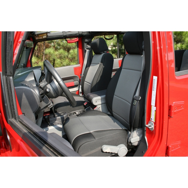 Neoprene Front Seat Covers, Black/Gray; 07-10 Jeep Wrangler JK - Rugged Ridge