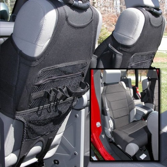 Neoprene Seat Vests, Black; 07-16 Jeep Wrangler JK - Rugged Ridge