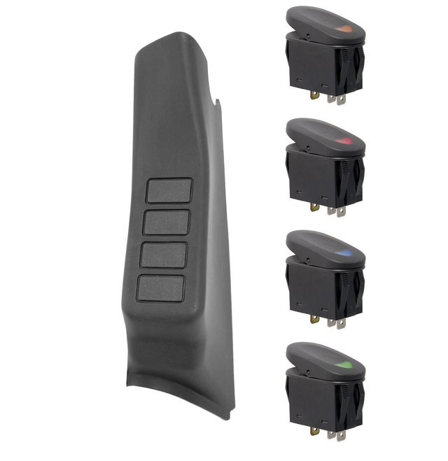 A-Pillar Switch Pod Kit, Black; 07-10 Jeep Wrangler JK, LHD - Rugged Ridge