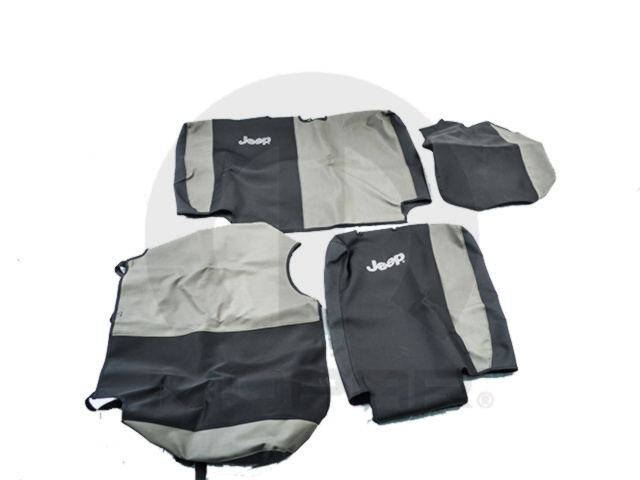 JEEP REAR SEAT COVERS KHAKI AND BLACK 4 DOOR - MOPAR (82211630)