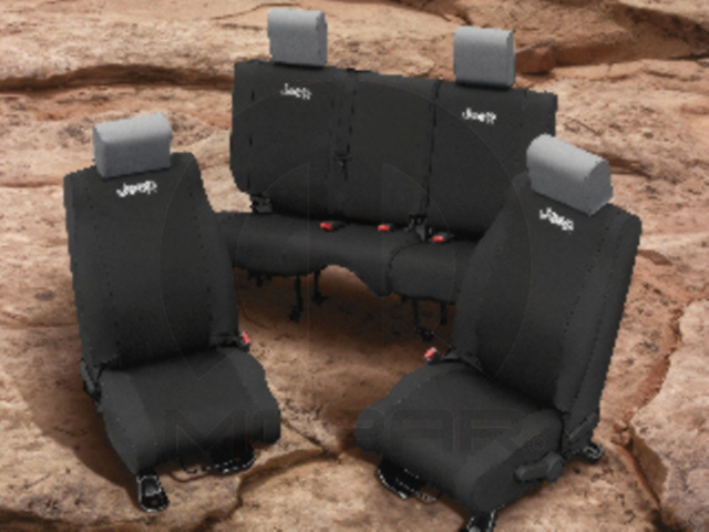 JEEP REAR SEAT COVERS BLACK NEOPRENE 4 DOOR - MOPAR (82212599)