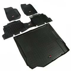 Floor Liners, Kit, Black; 07-10 Jeep 4-Door Wrangler JK - Rugged Ridge