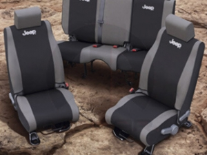 JEEP REAR SEAT COVERS KHAKI AND BLACK 2 DOOR - MOPAR (82210328)