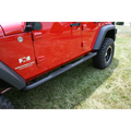 Round Tube Side Steps, 3 Inch, Black; 07-16 Jeep Wrangler Unlimited JK - Rugged Ridge