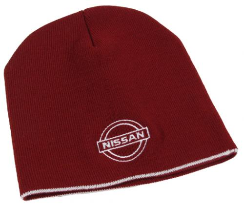 Knit Cap With Nissan Logo - Maroon With White Trim