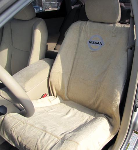 Terry Cloth Seat Protector With Nissan Logo - Tan