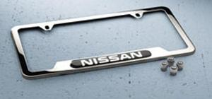 Nissan Chrome License Plate Frame with Valve Stem Caps