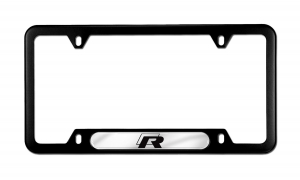 BLACK STAINLESS VOLKSWAGEN FRAME FEATURING THE R LINE LOGO