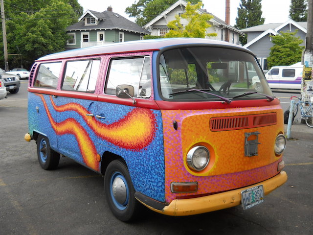 VW bus flames