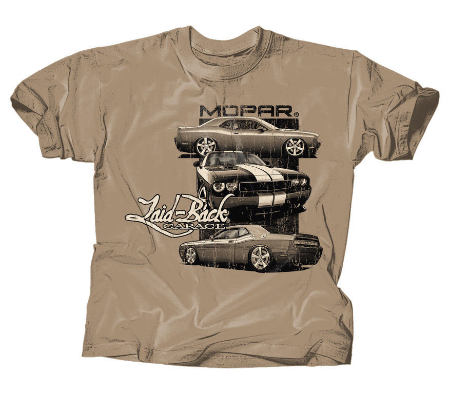 Laid-Back Garage Mopar Dodge Lb Tri Challenger T-Shirt T Shirt Khaki Large New