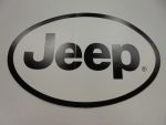 "New Jeep European Style Decal Black & White Decal 5 3/4"" H X 3 3/4"" W Mopar"