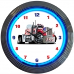 "New Big Rig Usa Neon Wall Clock 15"" By Neonetics"