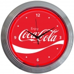 "New Coca-Cola Wave Neon Wall Clock 15"" By Neonetics"