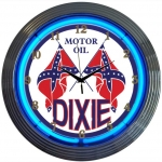 "New Dixie Motor Oil Neon Wall Clock 15"" By Neonetics"