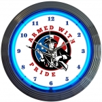 "New Armed With Pride Firearms Neon Wall Clock 15"" By Neonetics"