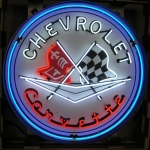 New Corvette Flags 36 Inch Neon Sign In Metal Can
