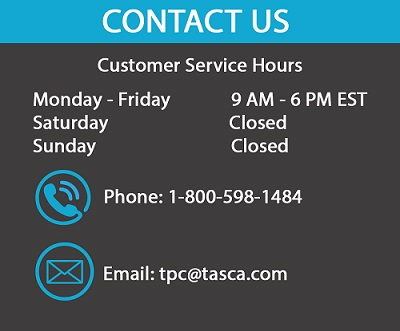 Tasca Parts Customer Service hours are Monday - Friday, 9 AM - 6 PM EST.